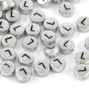 Bokstavspärlor silver *L*