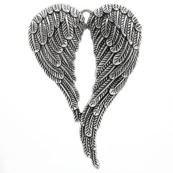 Berlock, stora vingar, antiksilver, 47x68mm