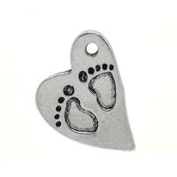 Berlock, hjärta med babyfötter, antiksilver, 15x21mm, 5st