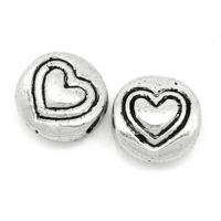 Metallpärlor med hjärta, antiksilver, 6mm