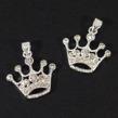 Berlock, krona med strass, silver, 19mm, 2st
