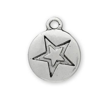 Berlock, rund med stjärna, antiksilver, 12mm, 10st – utförsäljning