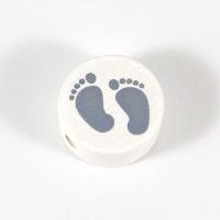 Motivpärla babyfötter, vit