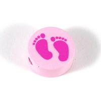Motivpärla babyfötter, ljusrosa
