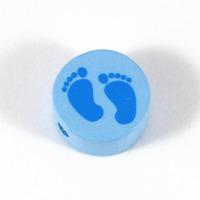 Motivpärla babyfötter, ljusblå
