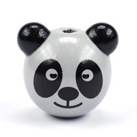 Motivpärla 3D-panda, ljusgrå