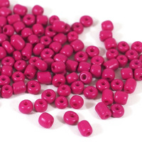 6/0 Seed beads, opaque fuchsia, 4mm