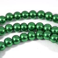 Vaxade glaspärlor, mörkgrön, 6mm