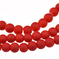 Gummiklädda glaspärlor, röd, 6mm