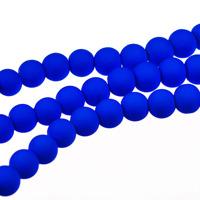 Gummiklädda glaspärlor, marinblå, 6mm
