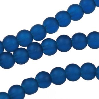 Frostade glaspärlor, midnattsblå, 6mm