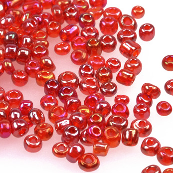 6/0 Seed beads, transparent-rainbow röd, 4mm