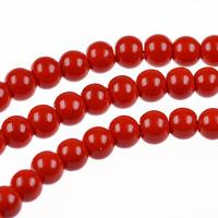 Runda glaspärlor, röd, 6mm
