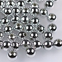 Pläterade akrylpärlor, silver, 8mm