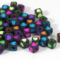 Kubformade hjärtan, svart-neon