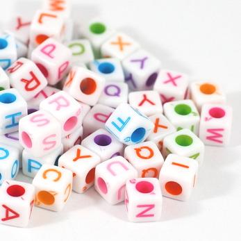 Bokstavspärlor craft-style, kub, vit-färg