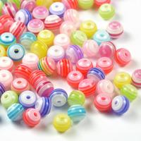 Randiga resinpärlor, färgmix, 6mm