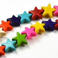 Stjärnor i imiterad turkos, färgmix, 12mm