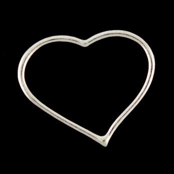 Connector, stilrent hjärta, silver, 27x22mm, 10st