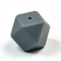 Kantig silikonpärla, 18mm, grå