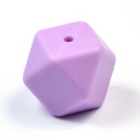 Kantig silikonpärla, 18mm, lavendel