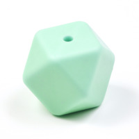 Kantig silikonpärla, 18mm, mint