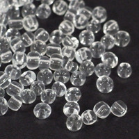 6/0 Seed beads, transparent klar, 4mm