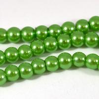 Vaxade glaspärlor, ljusgrön, 6mm