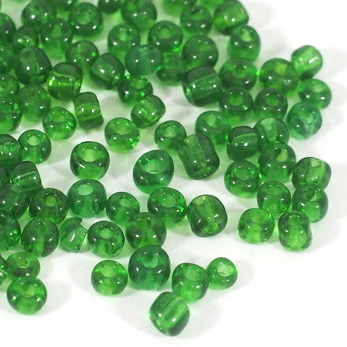 6/0 Seed beads, transparent grön, 4mm