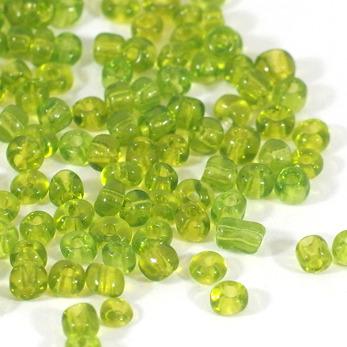 6/0 Seed beads, transparent ljusgrön, 4mm
