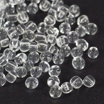 6/0 Seed beads, transparent klar, 4mm