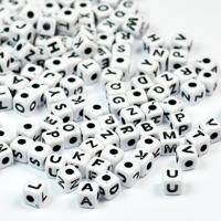 Mini-bokstavspärlor kub, craft-style vit
