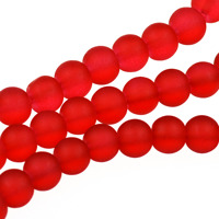 Frostade glaspärlor, röd, 6mm