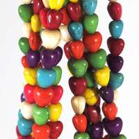 Hjärtan i imiterad turkos, färgmix, 10mm