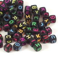 Bokstavspärlor kub svart-neon, 6mm
