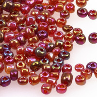 6/0 Seed beads, transparent-rainbow hallonröd, 4mm