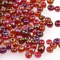 6/0 Seed beads, transparent-rainbow hallonröd, 4mm