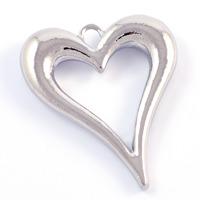 Berlock, elegant hjärta, platinum, 33x39mm