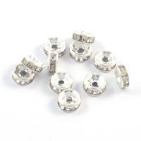 Mellandelar, rondeller med strass, silver, 6mm