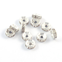 Rondeller med strass, silver-vit, 6mm