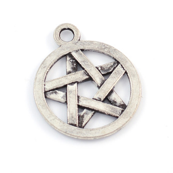 Berlock, pentagram, antiksilver, 16mm, 10st
