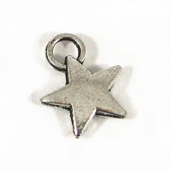 Berlock, stjärna, antiksilver, 9x12mm