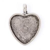 Ramberlock, antiksilver, stilrent hjärta, 25mm – utförsäljning