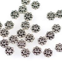 Mellandelar, daisy, antiksilver, 6mm