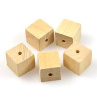 Naturliga träpärlor, kub, 20mm – utförsäljning