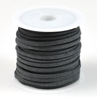 Konstmockasnöre, mörkgrå, 3x1,5mm