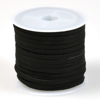 Konstmockasnöre, svart, 3x1,5mm