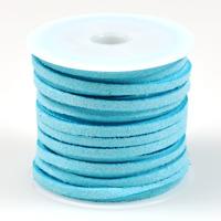 Konstmockasnöre, ljusblå, 3x1,5mm