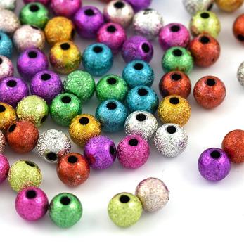Stardust pärlor i akryl, glad färgmix, 6mm – utförsäljning