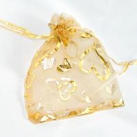 Organzapåse guld med hjärtan, 7x9cm